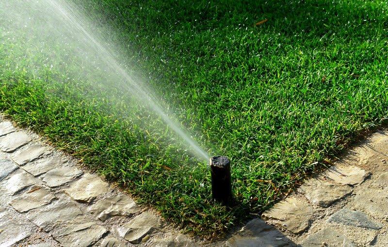 pgp ultra watering green grass beside walkway